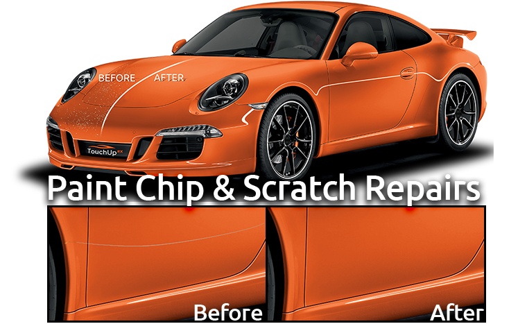 TouchUpRX before and after red porsche